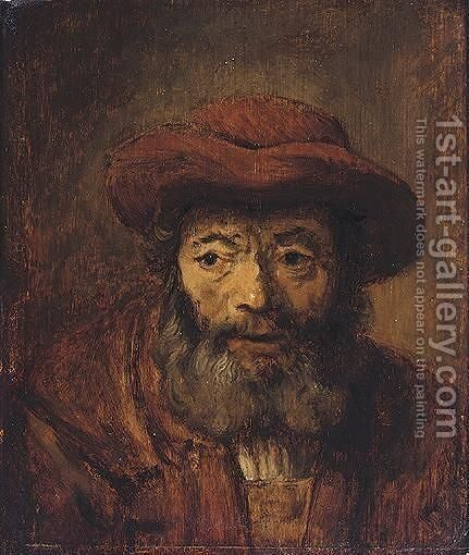 Portrait Of A Bearded Man, Head And Shoulders, Wearing A Brown Hat by (after) Harmenszoon Van Rijn Rembrandt - Reproduction Oil Painting