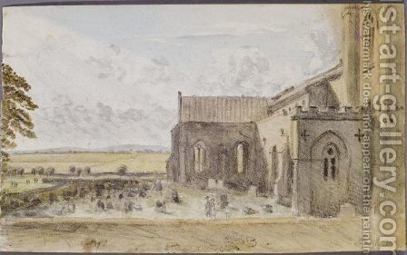 A landscape with a church by Dr. William Crotch - Reproduction Oil Painting