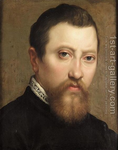A Portrait Of A Bearded Gentleman, Head And Shoulders, Wearing Black With A White Lace Collar by Annibale Carracci - Reproduction Oil Painting