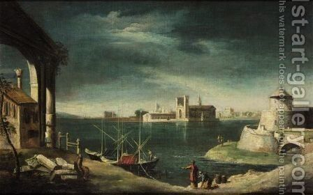 A Venetian Capriccio Of The Lagoon by (after) Michele Marieschi - Reproduction Oil Painting