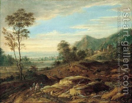 A Landscape With Travellers On A Road Near A Village by Johann Christian Vollerdt or Vollaert - Reproduction Oil Painting