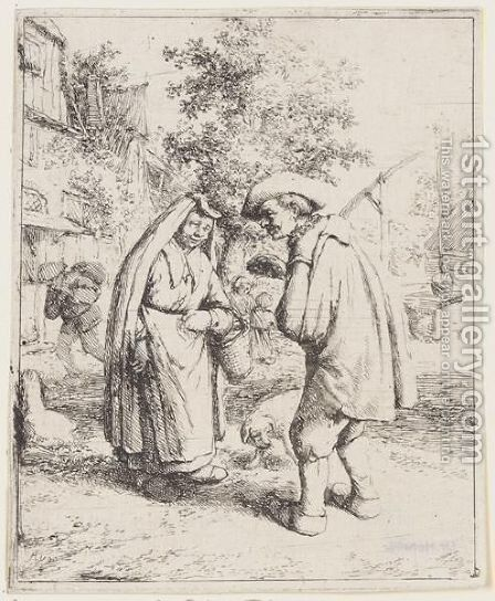 Man And Woman Talking by Adriaen Jansz. Van Ostade - Reproduction Oil Painting