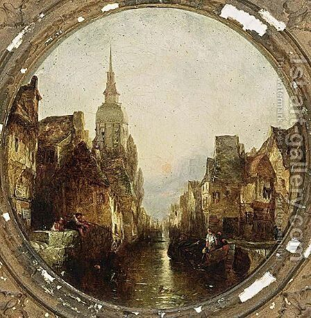 Capriccio Of A Town By Sunset by Alfred Montague - Reproduction Oil Painting