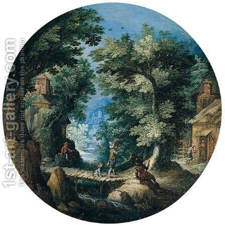 A Wooded Landscape With A Huntsman Shooting On A Bridge, A Cottage Nearby by Jacques Van Der Wyhen - Reproduction Oil Painting