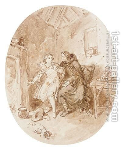 Figures in an interior by Charles West Cope - Reproduction Oil Painting