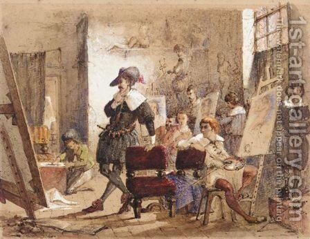 Artist in his studio by Count Alexandre Thomas Francia - Reproduction Oil Painting