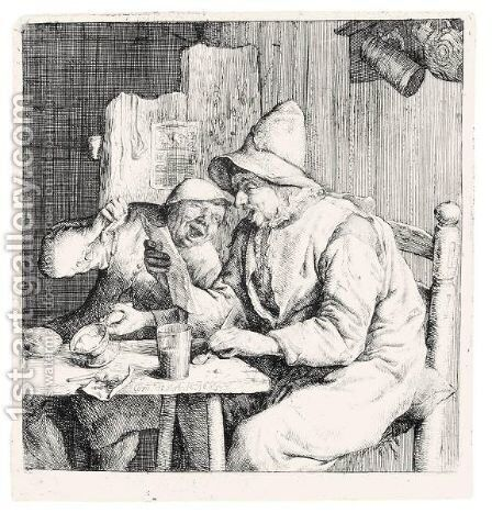 The Two Singers In The Inn (Holl.4) by Cornelis Dusart - Reproduction Oil Painting
