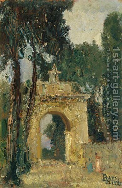 Ingresso Di Villa Borghese A Roma by Beppe Ciardi - Reproduction Oil Painting