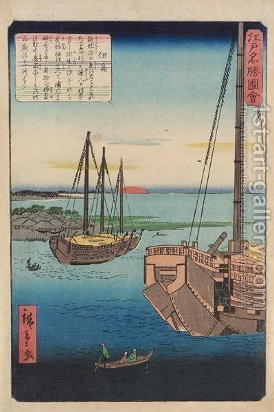 Ships, a print by Hiroshige by Hiroshige III - Reproduction Oil Painting