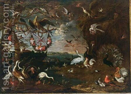 An Allegory Of The Order Of The Knights Of Malta With An Eagle, Herons, Turkeys, A Cockatoo, A Spoonbill, A Jay, Pheasants, Hoopoes, Pigeons, Ducks, A Lapwing, Owls, A Swan, A Peacock, Chickens, Parrots, Cranes And A Macaw, All In A Landscape by (after) Jan Van Kessel III - Reproduction Oil Painting