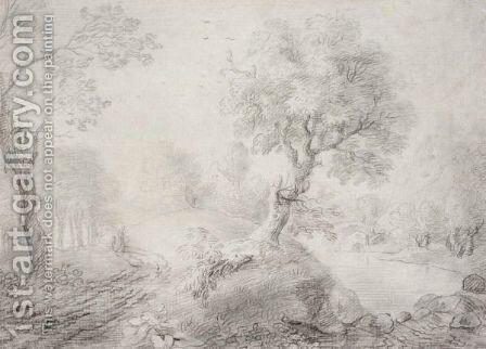 A Landscape Drawing by - Unknown Painter - Reproduction Oil Painting