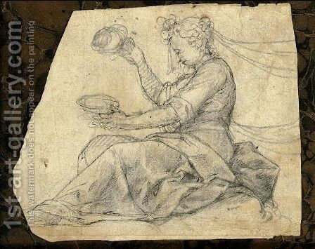 A Seated Woman Holding A Dish by (after) Peter (Peter Candid) Witter - Reproduction Oil Painting