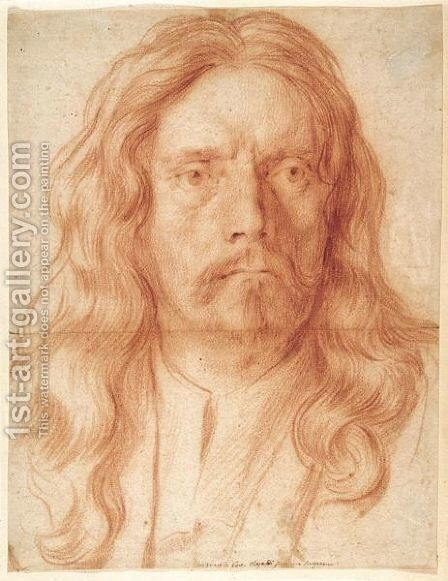 A Full Face Portrait Of A Man, Said To Be Alessandro Algardi by (after) Carlo Maratta Or Maratti - Reproduction Oil Painting
