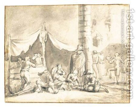 Figures Resting And Playing Games In Front Of A Tent by Dutch School - Reproduction Oil Painting