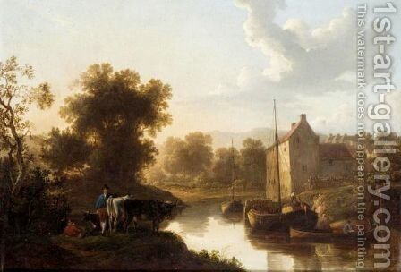 A River Landscape With Barges And A Herdsmen Resting On The Bank With His Cattle by (after) William Traies - Reproduction Oil Painting