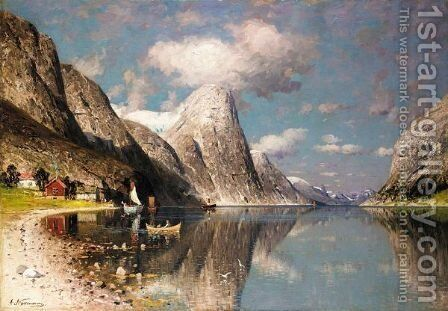 A Fjord In Summer by Adelsteen Normann - Reproduction Oil Painting
