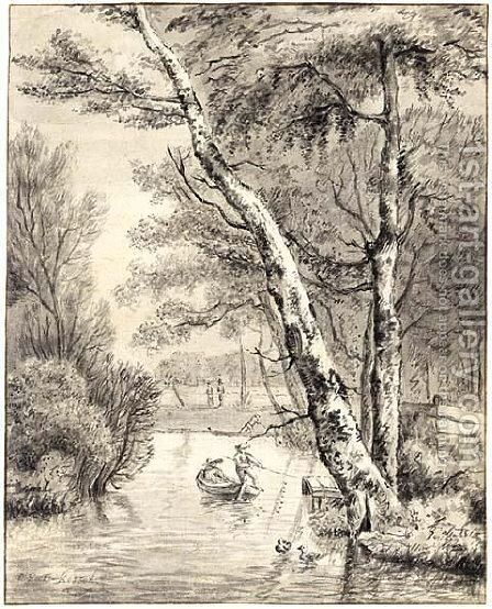 River Scene With A Couple In A Boat Near Large Trees by (after) Jan Van, The Younger Kessel - Reproduction Oil Painting