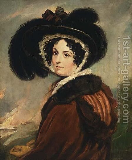 Portrait Of A Lady With A Hat, Said To Be Mrs Opie by (after) John Opie - Reproduction Oil Painting