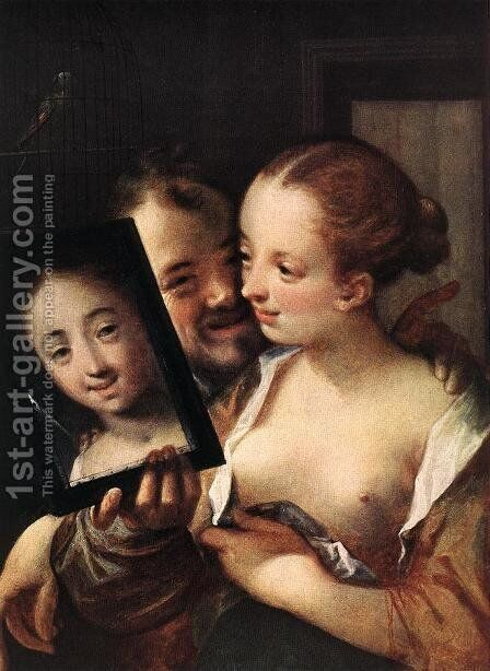 Joking Couple by Hans Von Aachen - Reproduction Oil Painting