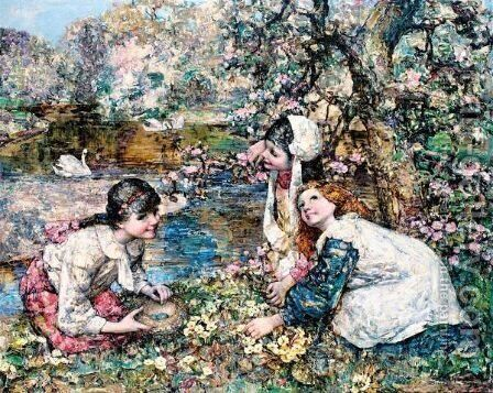 Spring In The Lake Wood by Edward Atkinson Hornel - Reproduction Oil Painting