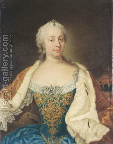 A Portrait Of Maria Theresa, Archduchess Of Austria, Empress Of The Holy Roman Empire, Queen Of Hungary And Bohemia (1717-1780), Seated Half Length, Wearing An Blue Satin Dress With A Gilt-Embroidered And White Lace Bodice And An Ermine Cloak by (after) Martin II Mytens Or Meytens - Reproduction Oil Painting