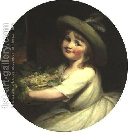 Young Girl With Grapes by (after) Hunter, Robert - Reproduction Oil Painting
