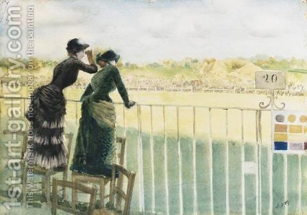 Alle Corse Di Longchamp by Giuseppe de Nittis - Reproduction Oil Painting