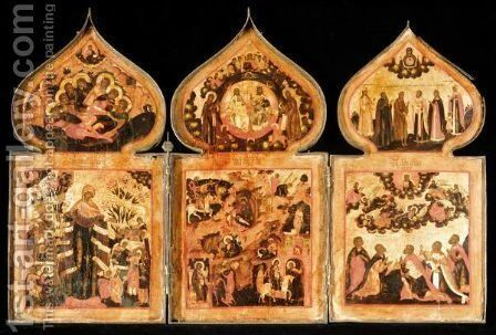 AN IMPORTANT TRIPTYCH by - Unknown Painter - Reproduction Oil Painting