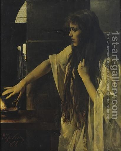 The Wise Virgin by Alfred Stevens - Reproduction Oil Painting
