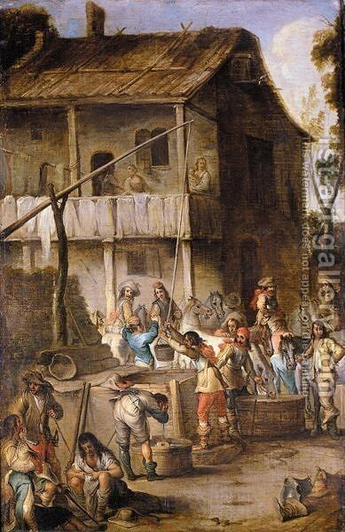 Soldiers Before A Tavern Drawing Water From A Well And Watering Their Horses by Cornelis de Wael - Reproduction Oil Painting