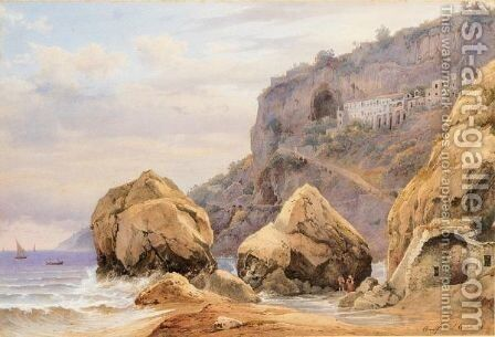 Amalfi, Veduta Del Convento Dei Cappuccini by Hermann David Salomon Corrodi - Reproduction Oil Painting