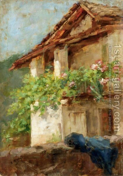 Rustico Di Campagna by Giuseppe Mentessi - Reproduction Oil Painting
