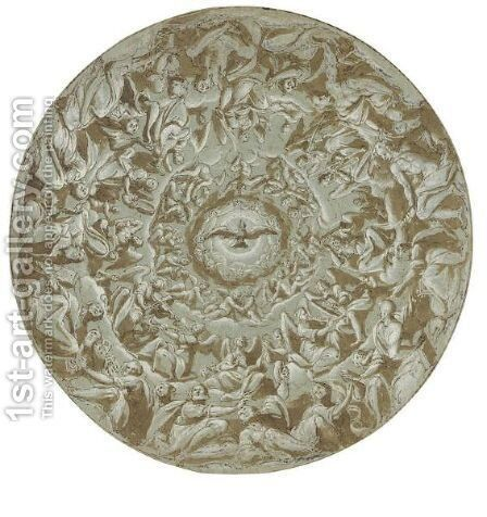 Design For A Cupola With The Holy Spirit And Circles Of Angels And Saints by Giovanni Battista della Rovere - Reproduction Oil Painting