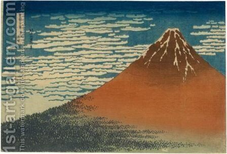 'Gaifu Kaisei' (Fine Wind, Clear Weather), Also Known As 'Aka Fuji' (Red Fuji) by Katsushika Hokusai - Reproduction Oil Painting