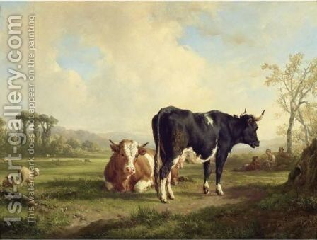 Shepherd With His Herd by Jacques-Raymond Brascassat - Reproduction Oil Painting