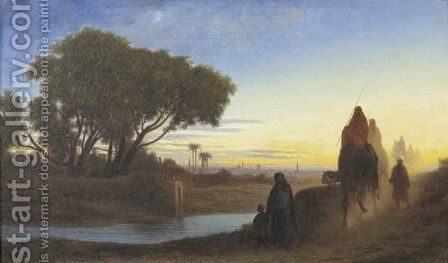 Caravane Au Crepuscule by Charles Théodore Frère - Reproduction Oil Painting