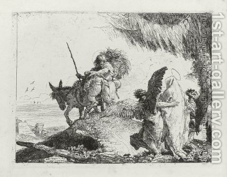 The Flight Into Egypt 2 by Giovanni Domenico Tiepolo - Reproduction Oil Painting
