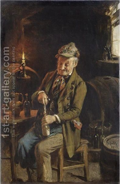 Vecchio Bevitore by Hermann Kern - Reproduction Oil Painting
