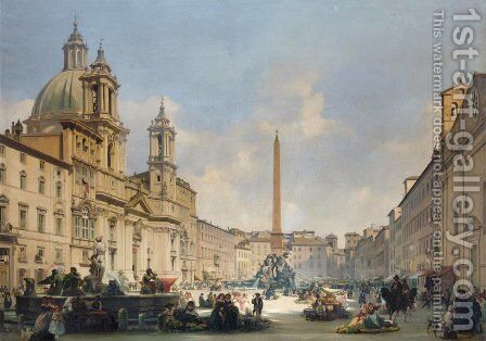 Veduta Di Piazza Navona, Roma by Ippolito Caffi - Reproduction Oil Painting