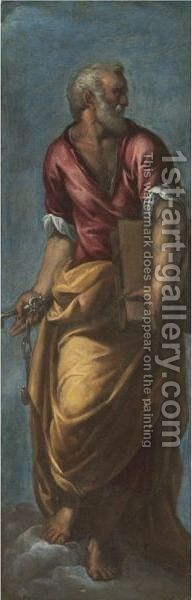 Saint Peter by (after) Ippolito Scarsella (see Scarsellino) - Reproduction Oil Painting