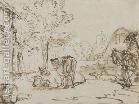 A Village Street, With A Horse And Rider Accompanied By Dogs To The Right, And Three Cows Towards The Left by (after) Rembrandt Van Rijn - Reproduction Oil Painting