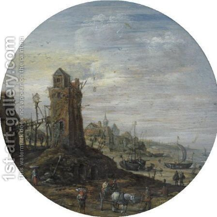 A Bustling Coastal Scene With A Lighthouse by Jan van Goyen - Reproduction Oil Painting