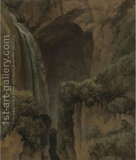 A Waterfall And A Grotto At Tivoli by Simon-Joseph-Alexandre-Clement Denis - Reproduction Oil Painting