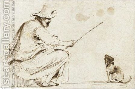 A Seated Man Wearing A Hat And Holding A Cane To Train A Dog by Giovanni Francesco Guercino (BARBIERI) - Reproduction Oil Painting