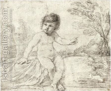A Child Seated In A Landscape, Pointing To His Left by Giovanni Francesco Guercino (BARBIERI) - Reproduction Oil Painting