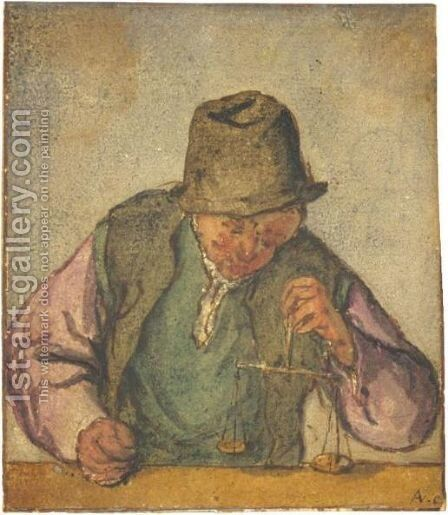 A Man At A Counter, Holding A Pair Of Scales by Adriaen Jansz. Van Ostade - Reproduction Oil Painting