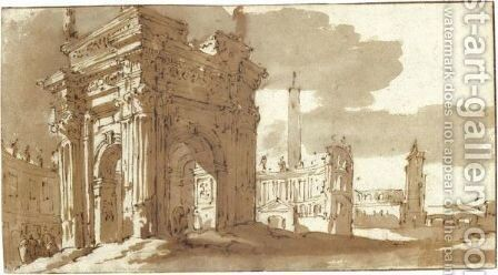 A Roman Fantasy With Ancient Buildings Including A Triumphal Arch by Jacob Van Der Ulft - Reproduction Oil Painting