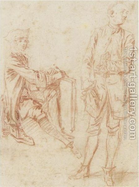 Two Figures A Draughtsman Seated Holding A Portfolio, Another Standing With His Hand In His Pocket by Jean-Antoine Watteau - Reproduction Oil Painting