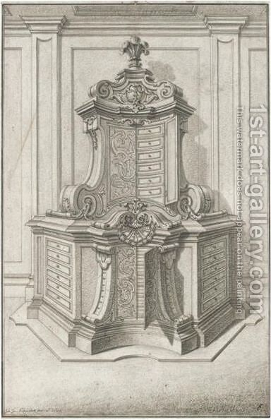 Design For A Medal Cabinet by Johann Jacob Schubler - Reproduction Oil Painting