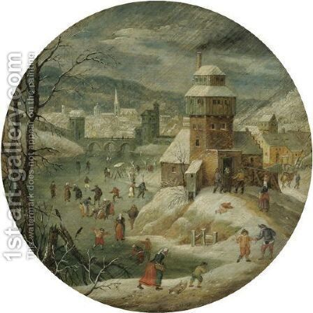 A Village Scene In Winter With Figures Skating by Abel Grimmer - Reproduction Oil Painting